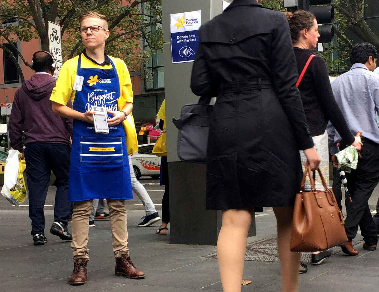 Volunteers from the Cancer Council collecting donations in the Melbourne CBD