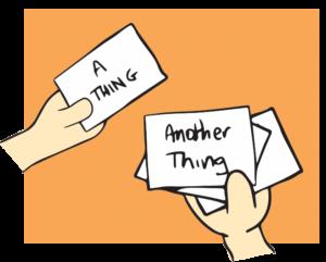 Illustration of hands completing card sort