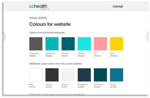 A grid comprising of coloured tiles that were used in the website redesign.