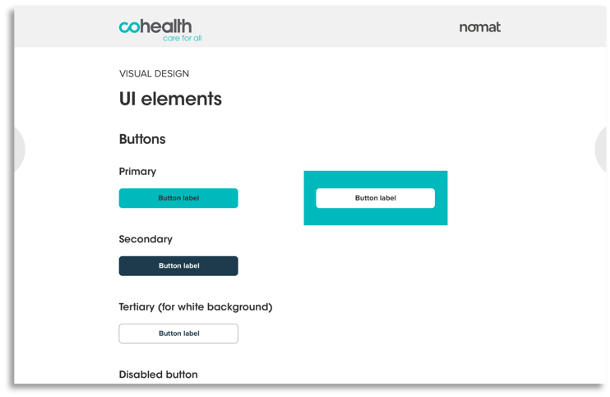 A screen displaying user interface elements such as buttons that were used in the website redesign.