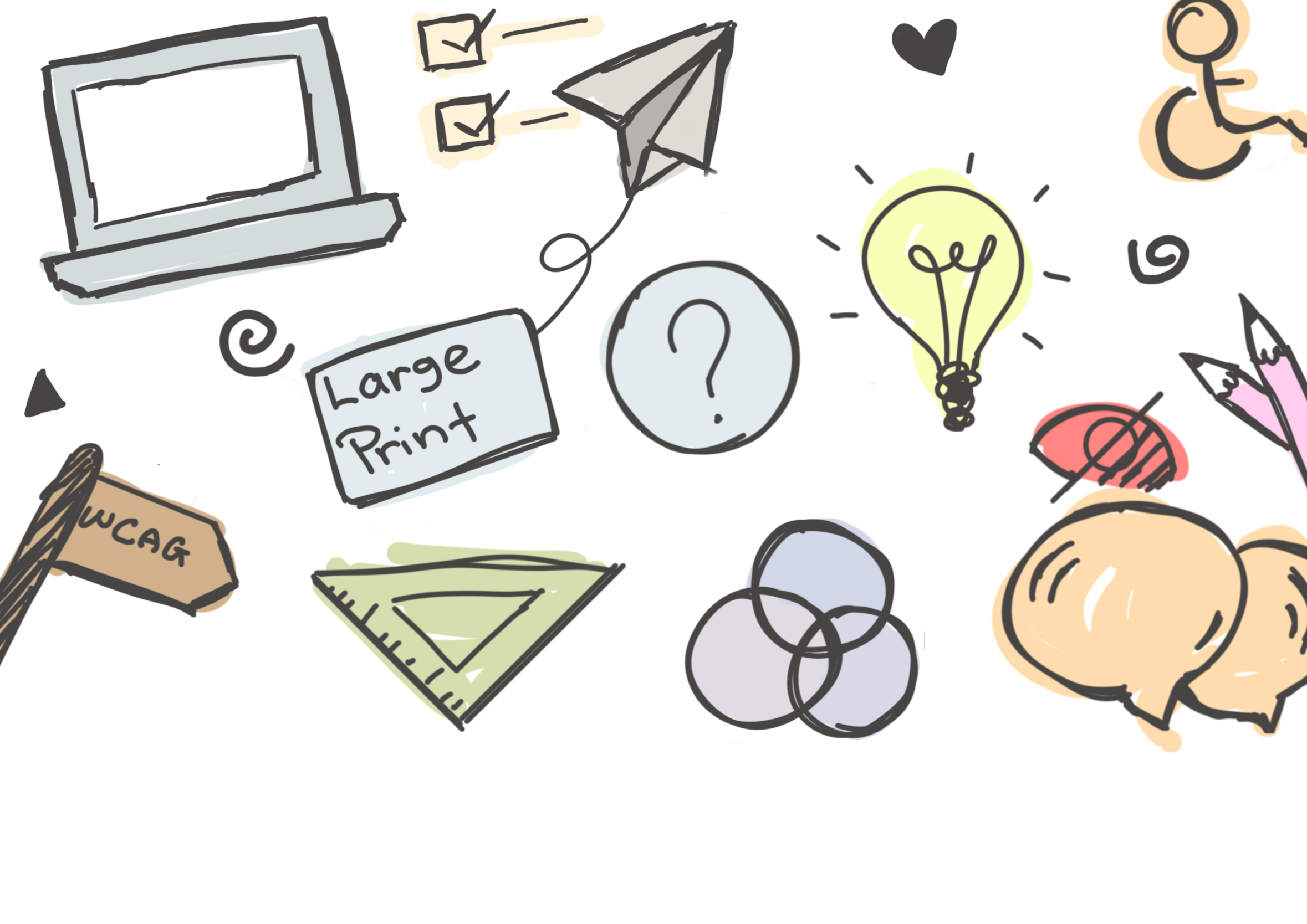 Doodles of icons that represent inclusive design